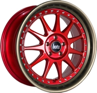 B4 CANDY RED - SILVER RIVETS - MATT BRONZE LI